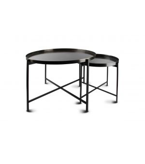 Side table brushed black Patio - set/2