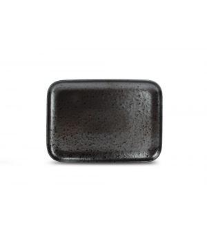 Teller flach 28x20cm black Oxido