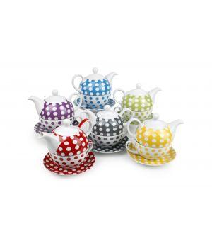 Tea for one set 6 kleuren assorti Dots
