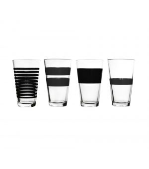 Verre 32,5cl noir Stripes - set/4