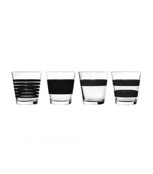 Glass 26,5cl black Stripes - set/4