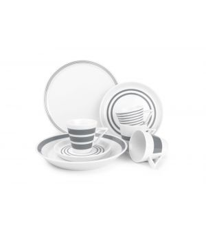 Dinner set 20 pieces grey Stripes