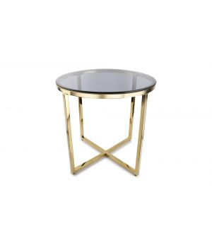 Side table 55xH55cm gold/smoked Rama